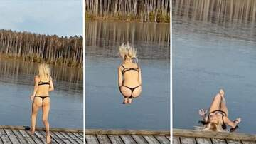 Heather Burnside - Woman Tries To Jump Into A Frozen Lake, It Does Not Go Well