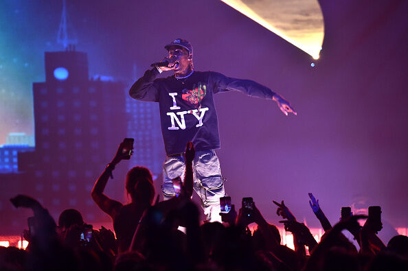 Travis Scott On Stage (Photo by Theo Wargo/Getty Images)