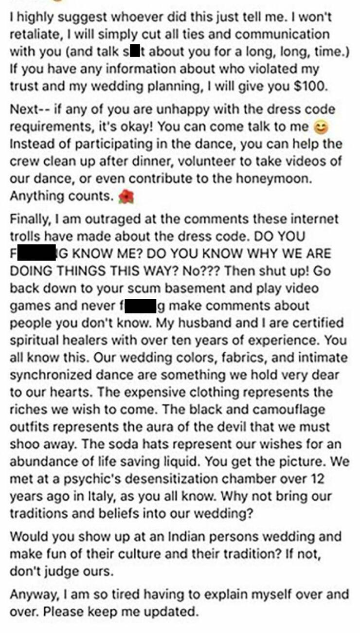 Bridezilla Furious After Her Crazy Weight-Based Wedding