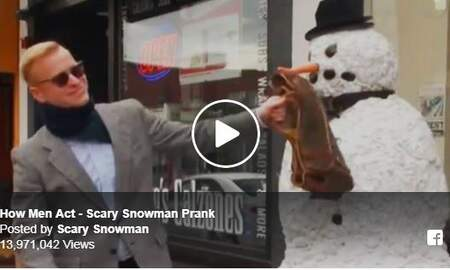 Cindy Scull Mornings - SNOWMAN Candid Camera....watch this guy prank people