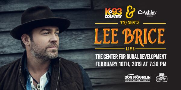 Buy Your Tickets to see Lee Brice LIVE at the Center for Rural Development!