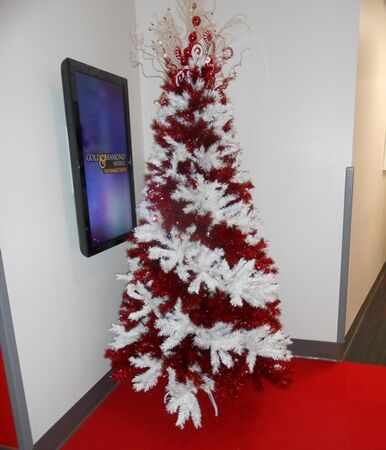 An iHeart Christmas tree