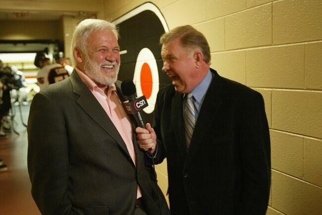 Steve Coates shares a laugh with Bernie Parent