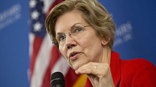 Senator Elizabeth Warren, a Democrat from Massachusetts, speaks during a discussion at American University in Washington, D.C.
