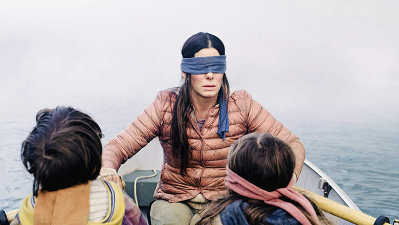 Sandra Bullock, Julian Edwards, and Vivien Lyra Blair in Bird Box (2018)