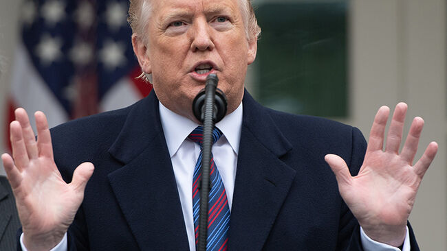 US President Donald Trump speaks during a press conference in the Rose Garden of the White House following a meeting with Congressional leaders on the government shutdown