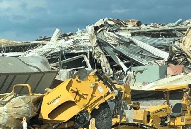 Pella tornado destruction, photo WHO TV