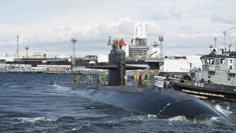 The Los Angeles-class fast-attack submarine USS Bremerton (SSN 698) arrives at Naval Base Kitsap-Bremerton to commence the inactivation and decommissioning process. The fleet's oldest active duty submarine departed Joint base Pearl Harbor-Hickam, in Pearl Harbor, Hawaii, for its final underway and homeport change