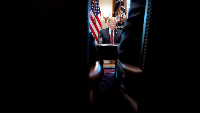 US President Donald Trump during a meeting about border security in the Cabinet Room of the White House