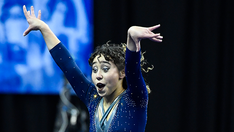 UCLA gymnast entertains and wows with perfect-10 floor routine at competition
