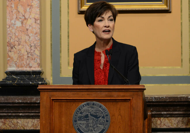 Iowa Governor Kim Reynolds from 2019 Condition of the State Address, photo WHO Radio