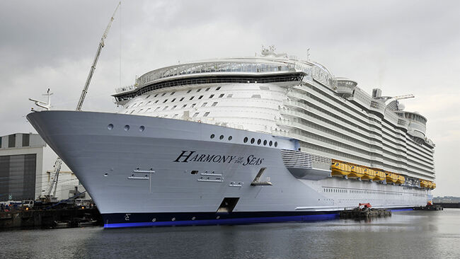 Delivery of the 'Harmony of the Seas' liner to the STX Europe shipyard in Saint-Nazaire