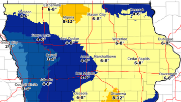 WOC Local News - Friday Iowa snow predictions as storm moves in SNOW MAPS