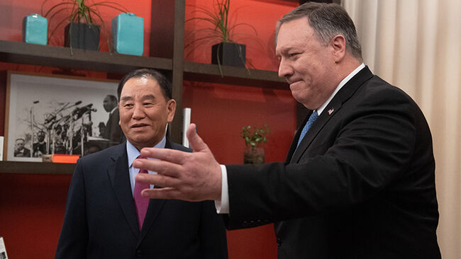 US Secretary of State Mike Pompeo welcomes North Korean Vice-Chairman Kim Yong Chol prior to a meeting in Washington, DC,