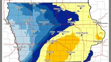 WHO Radio News - Friday PM revised snow prediction IOWA SNOW MAP