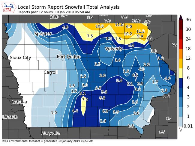 Iowa State University Mesonet map, data from National Weather Service