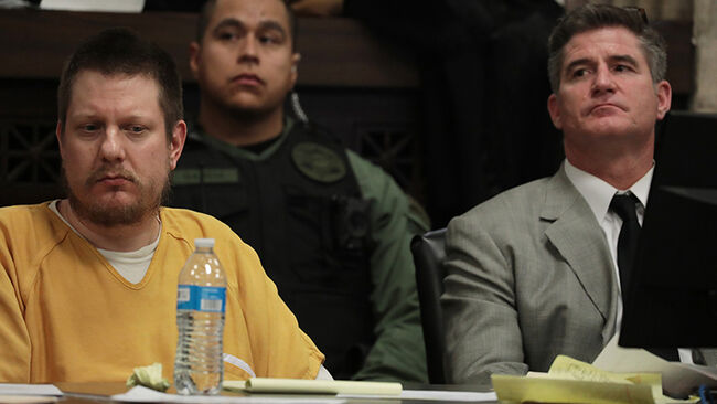 Former Chicago police Officer Jason Van Dyke, left, listens with his attorney Daniel Herbert at Van Dyke's sentencing hearing at the Leighton Criminal Court Building