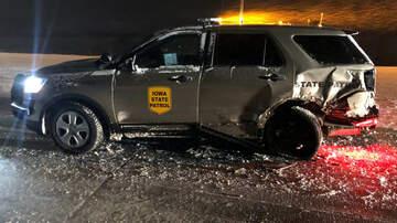WHO Radio News - Semi smashes into Iowa State Patrol car on I-80 PHOTO