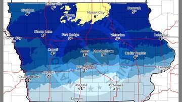 WHO Radio News - Rain, sleet, snow next for Iowa Monday night to Tuesday SNOW MAP