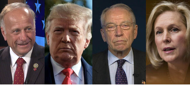 L-R Rep. Steve King; Pres. Donald Trump; Sen. Charles Grassley; Sen. Kirsten Gillibrand Photos WHO-TV