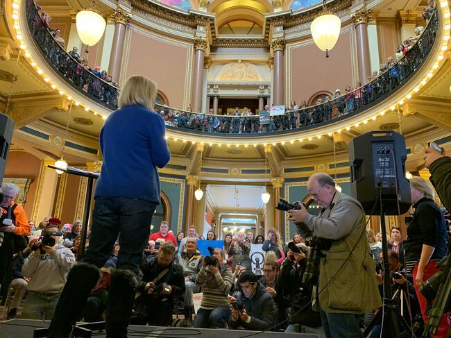 Sen. Kirsten Gillibrand at the Iowa State Capitol Saturday during the Women's March