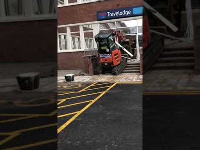 Hunt for digger driver who ploughed 2.5-ton machine into Travelodge in 'row over £600 unpaid bill' then fled - as GoFundMe page to fund 'legend' labourer's legal bill hits £765