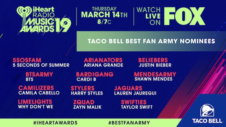 2019 iHeartRadio Music Awards Best Fan Army Nominees