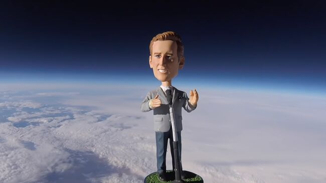 Vin Scully Bobblehead launched into Space