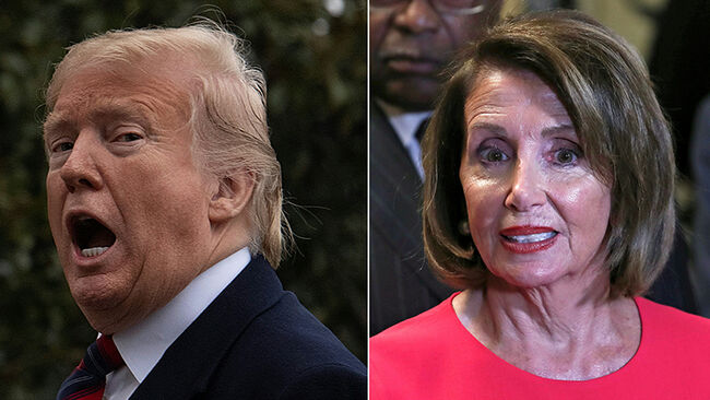 This combination of file pictures created on January 20, 2019 shows US President Donald Trump as he arrives at the White House in Washington, DC, on January 19, 2019,and Speaker of the House Nancy Pelosi (D-NY) outside the House Chamber on Capitol Hill in Washington, DC on January 3, 2019