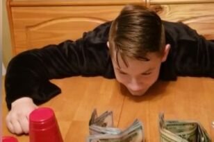 Dad Punks Son with Awesome Cup and Money Trick