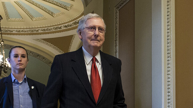 Senate Majority Leader Mitch McConnell (R-KY) leaves the Senate Chamber on Capitol Hill, January 24, 2019 at the U.S. Capitol in Washington, DC.