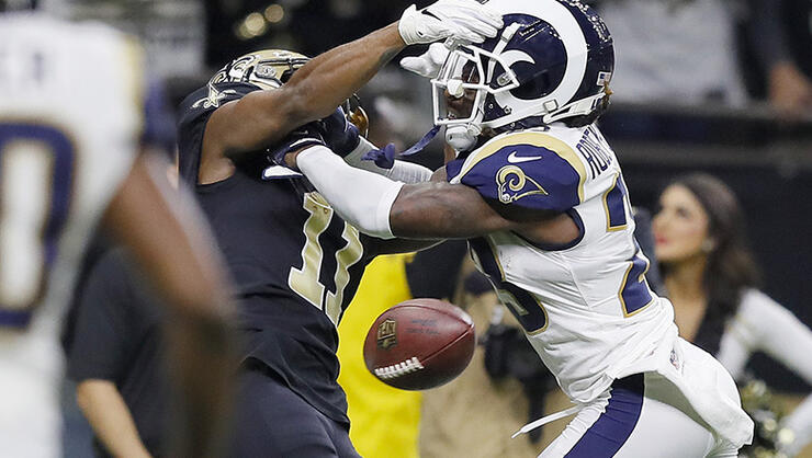 Tommylee Lewis #11 of the New Orleans Saints drops a pass broken up by Nickell Robey-Coleman #23 of the Los Angeles Rams during the fourth quarter in the NFC Championship game at the Mercedes-Benz Superdome on January 20, 2019 in New Orleans, Louisiana