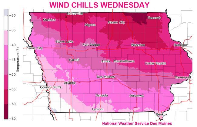 Omaha Des Moines Ames Cedar Rapids Quad Cities Wind Chill Maps