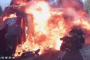 Teenager Survives Fiery Head-On Collision with Semi-Truck Trailer