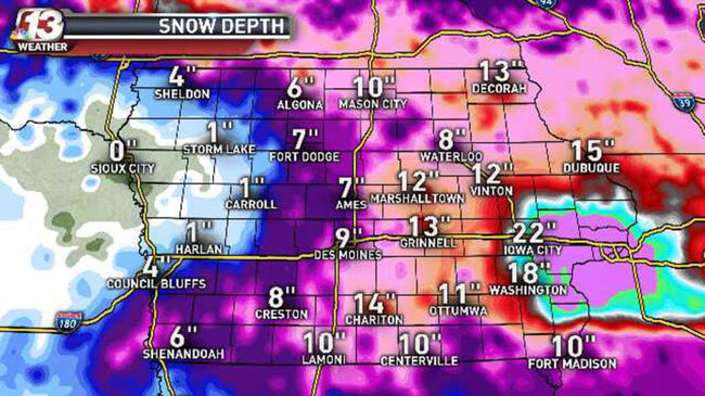 Snow pack map from Ed Wilson WHO-TV Channel 13