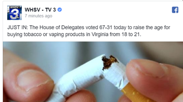 NewsRadio WKCY - News NOW  - Virginia House passes bill to raise minimum smoking age to 21
