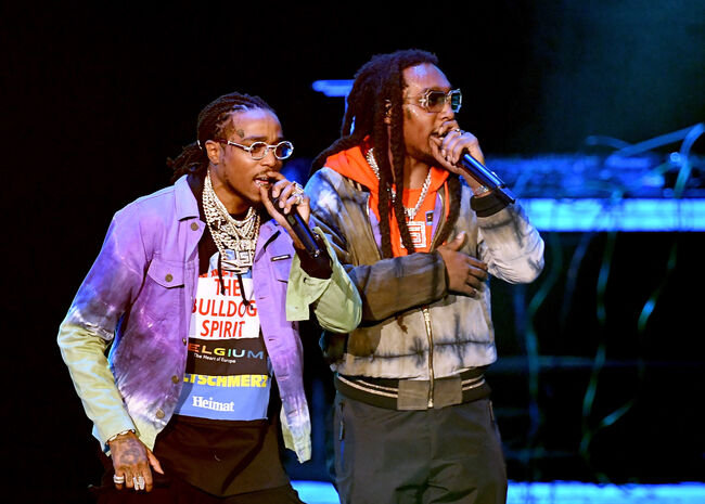 Bud Light Super Bowl Music Fest / EA SPORTS BOWL - Show ATLANTA, GA - JANUARY 31: Quavo and Takeoff of Migos perform onstage during Bud Light Super Bowl Music Fest / EA SPORTS BOWL at State Farm Arena on January 31, 2019 in Atlanta, Georgia. (Photo by Kevin Winter/Getty Images for Bud Light Super Bowl Music Fest / EA SPORTS BOWL)