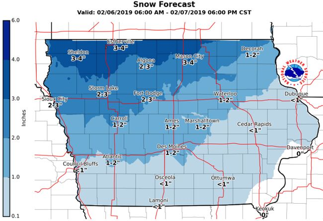 Iowa Snow Map