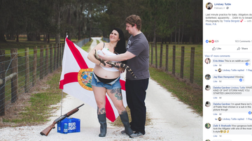 Weird News - Florida Woman Poses For Epic Maternity Shoot With Gator, Shotgun and Beer
