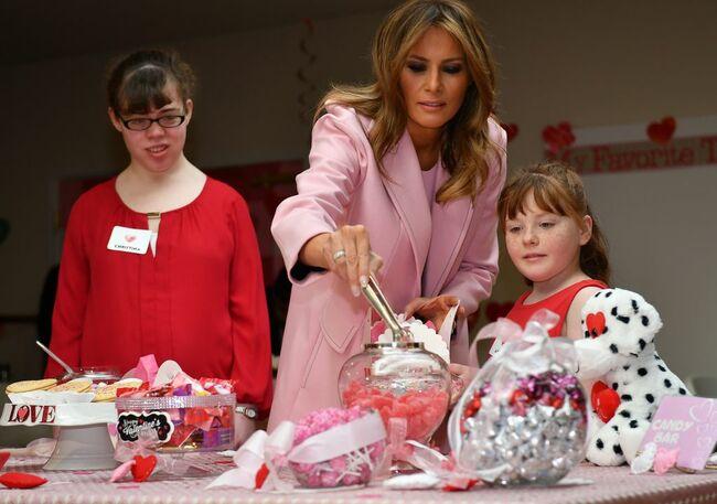 First Lady Melania Trump celebrating Valentine's Day with hospitalized children