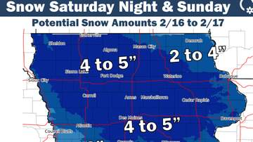 Local News - Up to 5 inches of new snow Saturday to Sunday IOWA SNOW MAP