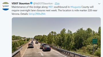 Steve - VDOT - Overnight Lane Closures 81S in AUG CO Next Week
