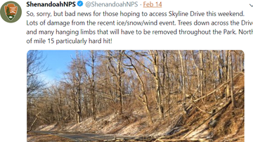 Steve - No Access To Skyline Drive through the weekend - Ice Storm Damage