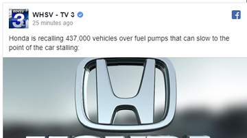 Steve - AUTO RECALL 437,000 vehicles over fuel pumps that can slow the car stalling