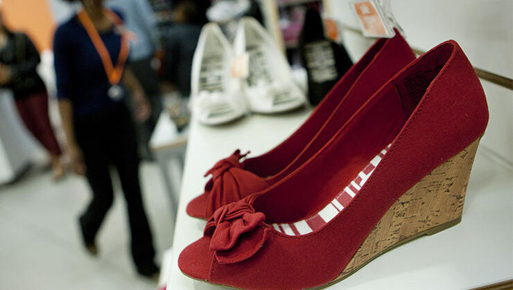 Shoes are displayed for sale at a Payless ShoeSource Inc. store in New York,