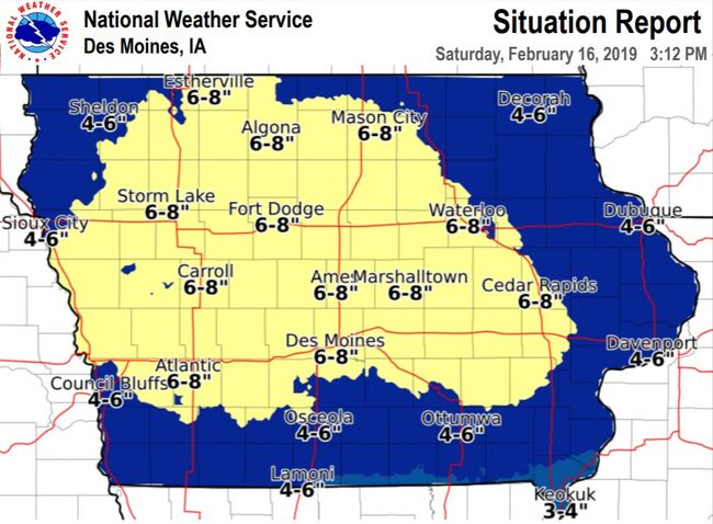 6-8 inches of snow likely in Des Moines region IOWA SNOW MAPS | 1040 on