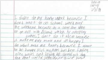 None - Boy Explains in Essay to his Teacher, Why He Didn't Do His Weekend Homework