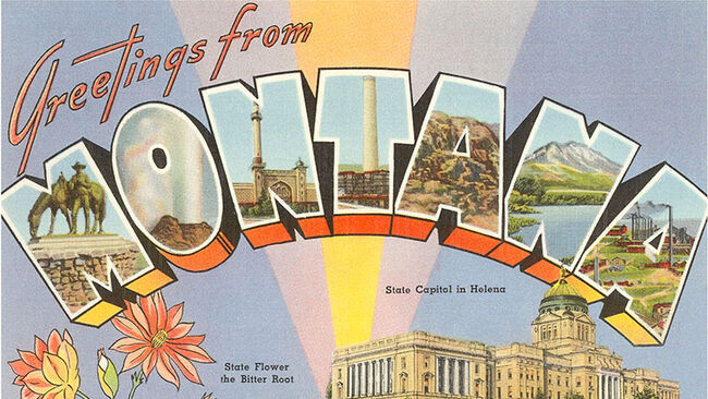 Vintage large letter illustrated postcard images of a statue, industry, a geyser, a lake and mountain, the state flower, and the State Capitol building, 'Greetings from Montana',