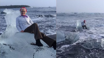 Scott Sloan - Grandmother Posing On 'Ice Throne' Drifts Off To Sea