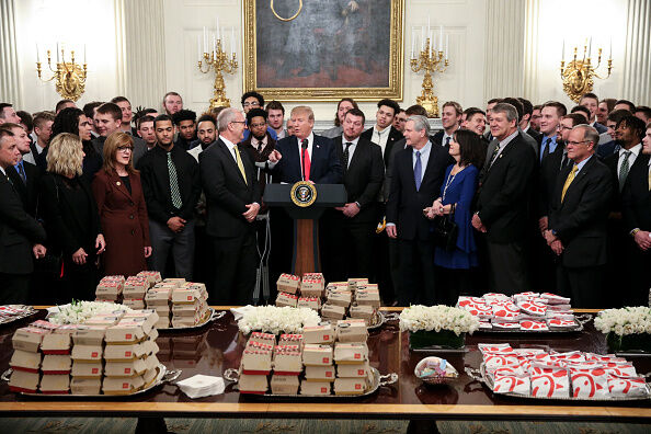 Trump with burgers